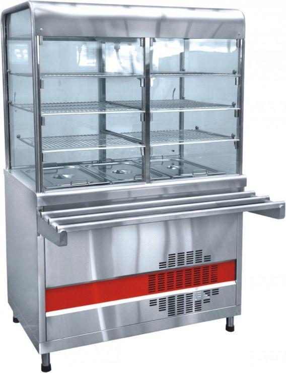 Прилавок-витрина холодильный ПВВ(Н)-70КМ-С-02-НШ вся нерж. с гастроемкостями